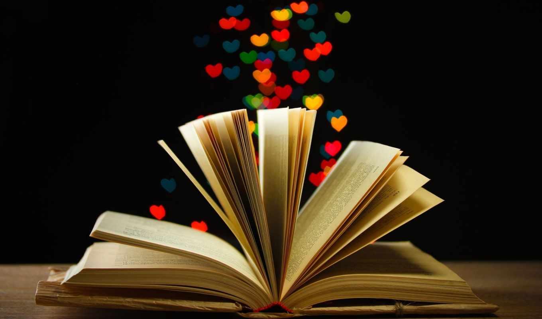 книга, сердца, открытая, широкоэкранные, книжка,