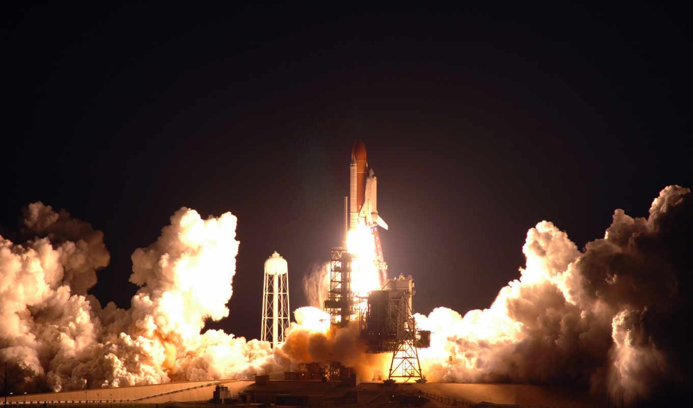 shuttle, space, launch, дым, станция, авиация,