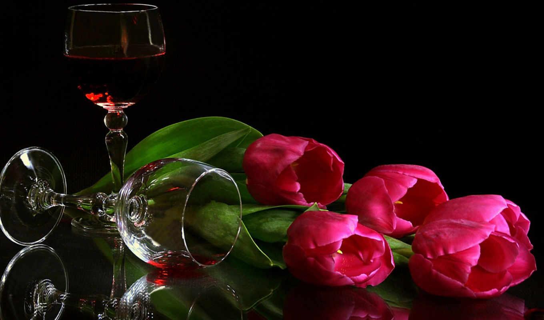still, life, тюльпаны, вино, рюмка,
