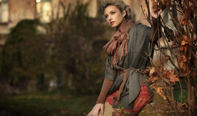 девушка, осень, грусть, шарф, фокус