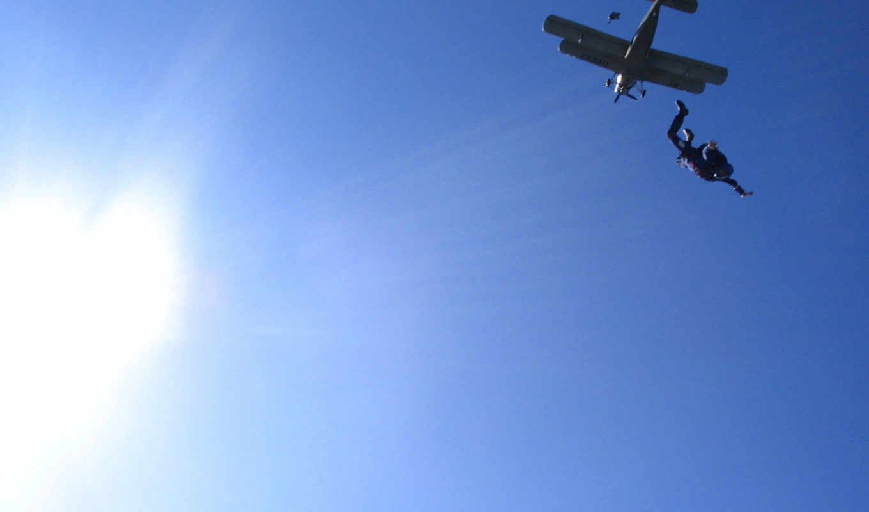 небо, самолёт, солнце, парашютист,