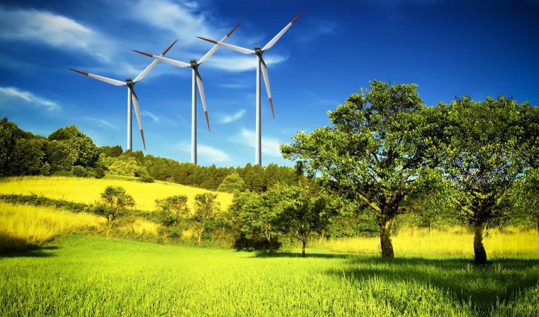 ветряки, электростанции, деревя, ветряные, природа, февр,