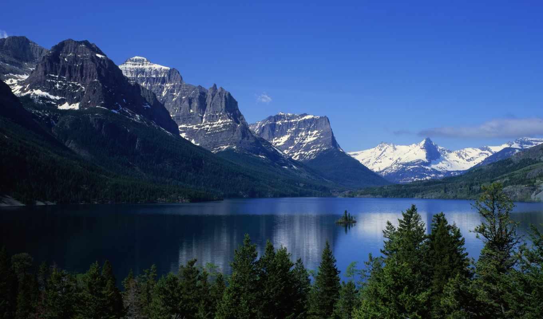озеро, горы, пейзаж, водная, гладь, картинка,