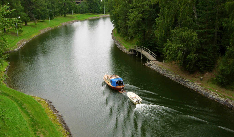 катер, мост, берег, деревья, канал, картинка,