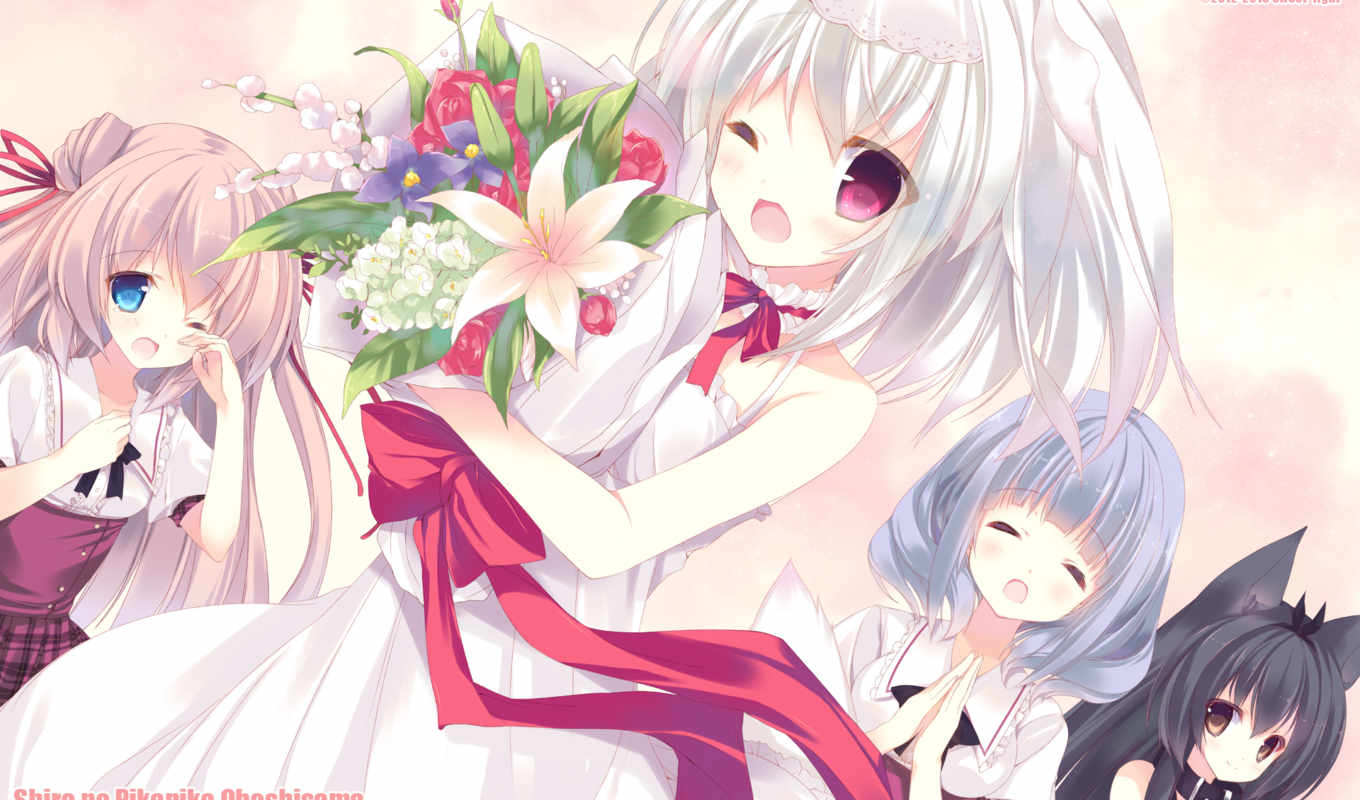 dress, wedding, bride, tags, flowers, wink, shiro, light, sama, comes, here, anime, pikapika, ohoshi,