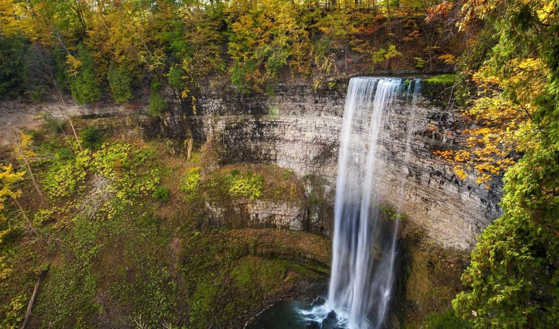 природа, деревья, водопад, осень, категории, скалы, телефон,