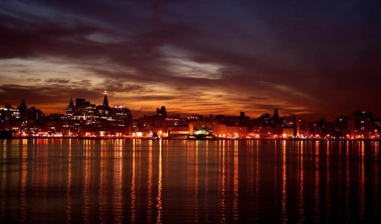 город, ночь, свой, фонари, огни, виды, городов,