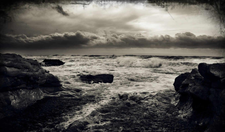 буря, море, волны, ветер, тучи,