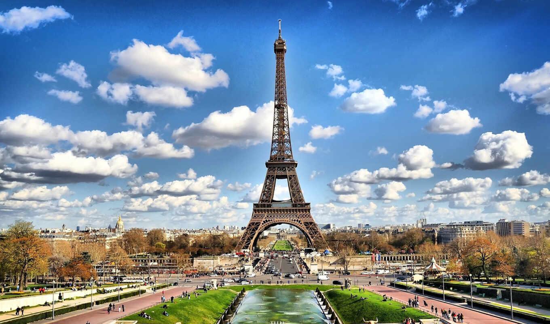 красивые, париж, франция, осень, turret, эйфелева,