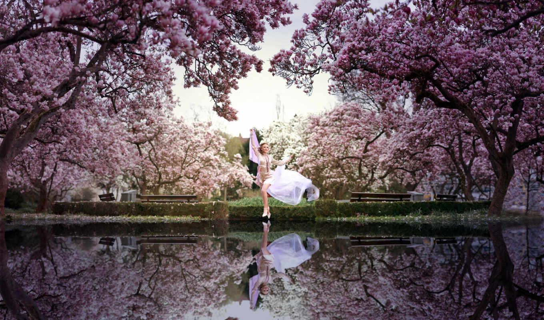 весна, девушка, park, water,