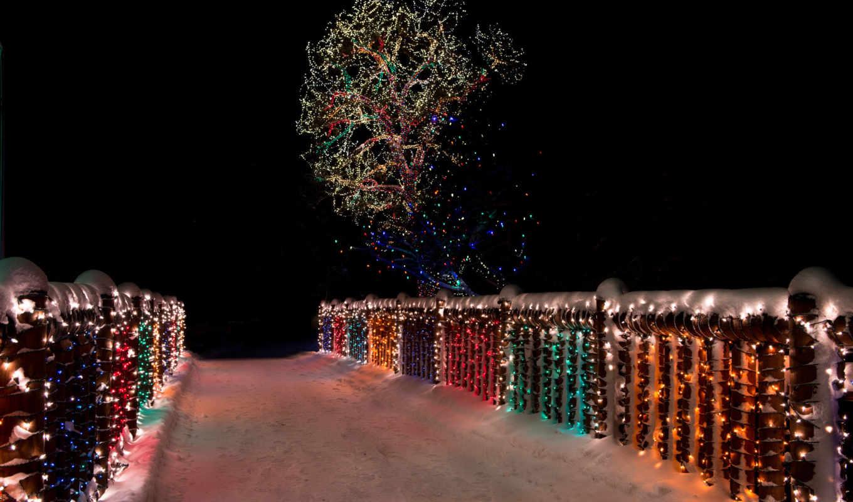 winter, ночь, снег, природа, огни, ночная,