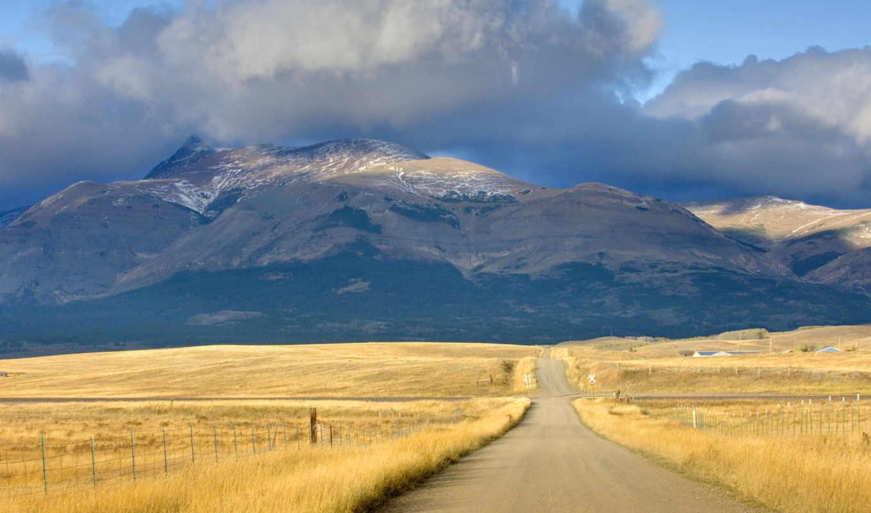 тучи, дорога, горы, природа,