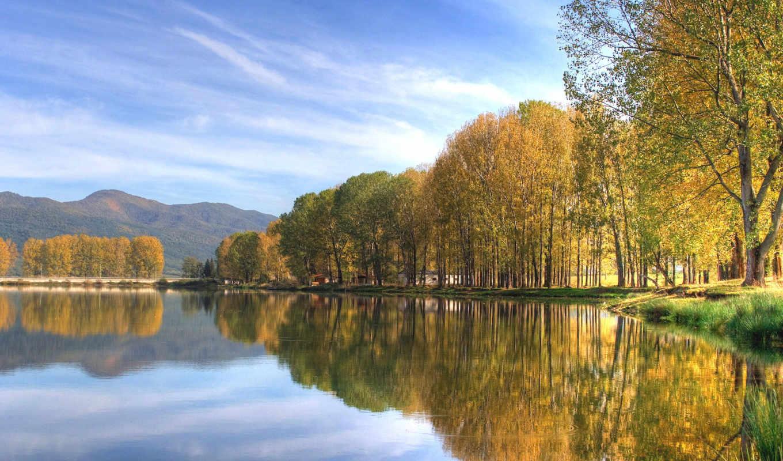 landscape, пейзажи, озеро, trees, осень, гора,