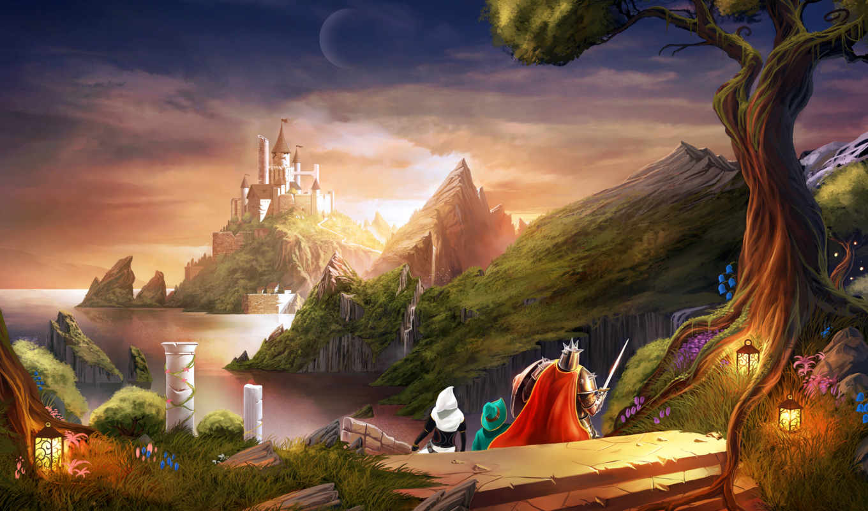 fantasy, горы, castle, landscape,