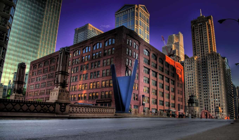 chicago, золотистый, нов, треугольник, коллекция, scenery,