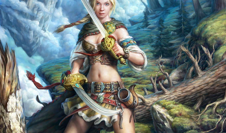 фэнтези, воители, девушки, мечи, воин,