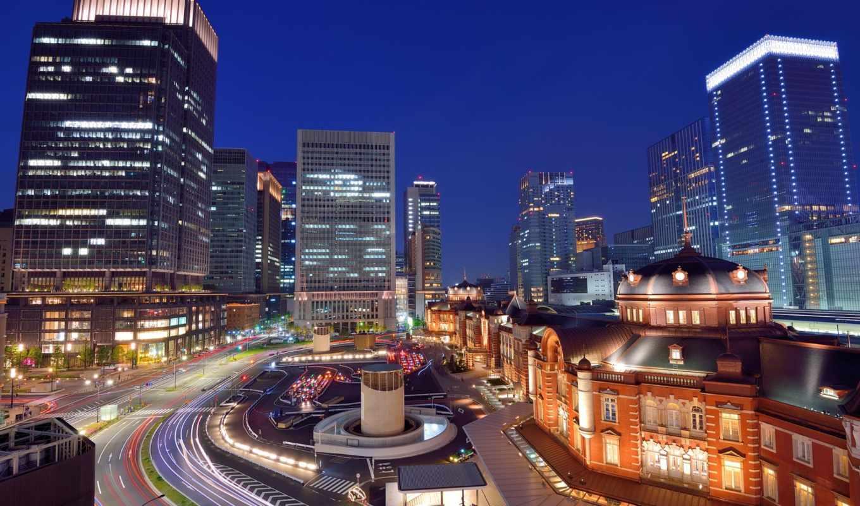 tokyo, япония, взгляд, азия, пересечение, выдержка,