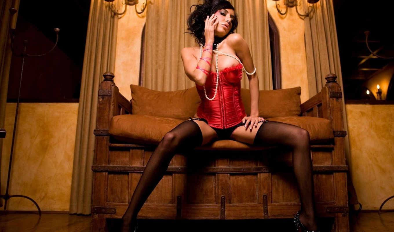 девушка, корсете, белье, corset, чулки, девушек, красивая, чулках, devushki, brunette,