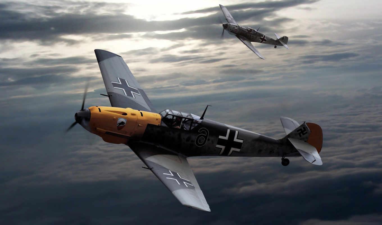 messerschmitt, военный, самолёт, world, war, luftwaffe, германия, artwork,