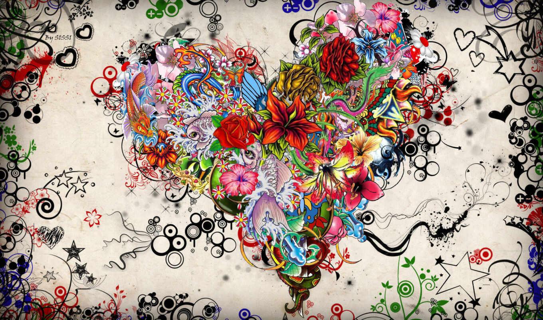 абстракция, птички, рыбки, full, love, сердце, кубики, графика,