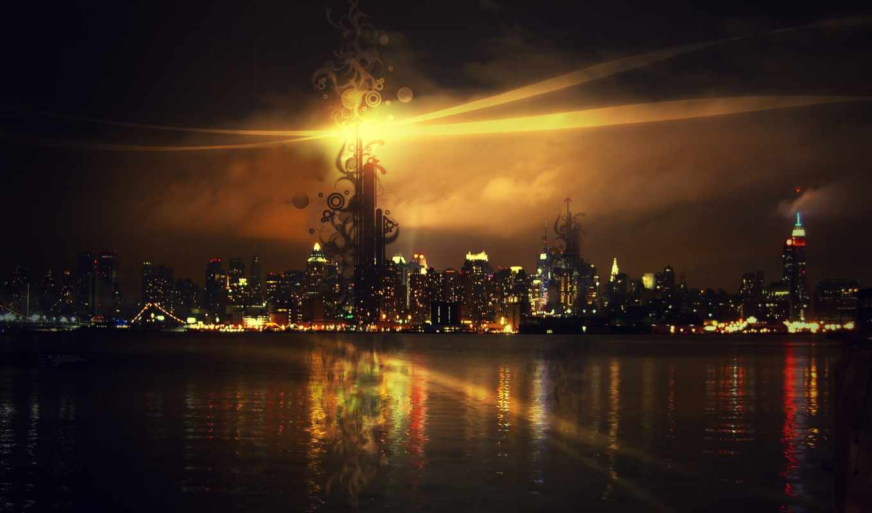 city, light, fullscreen, night, new, abstract, york,