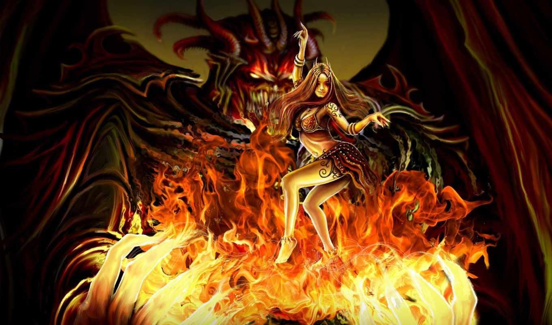 танец, огонь, демон, руки, девушка,
