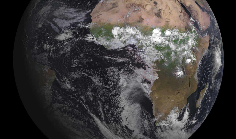 океаны, земля, материки, облака, африка, смотрите,