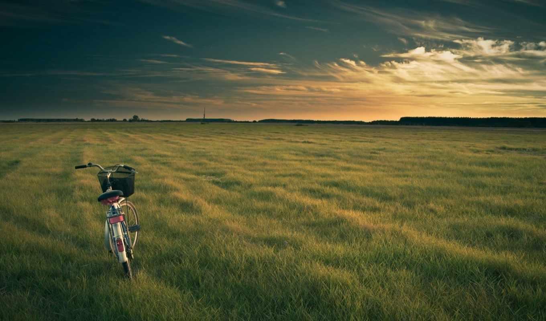 велосипед, природа, поле, небо, вечер, пейзаж, тучи, часть, картинок,