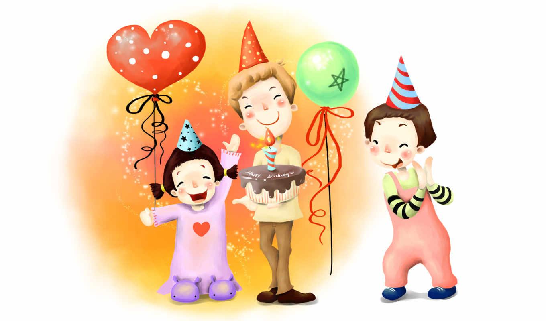 нарисованные, дети, конус, день рождения, шарики, апплодисменты, звёздочки, торт, свеча