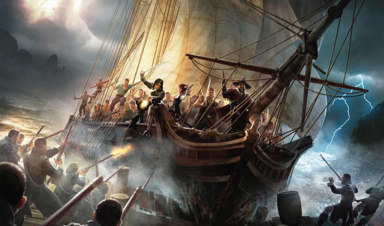 risen, waters, dark, 刺客信条, корабль, парусник, пираты, гроза, пирс,