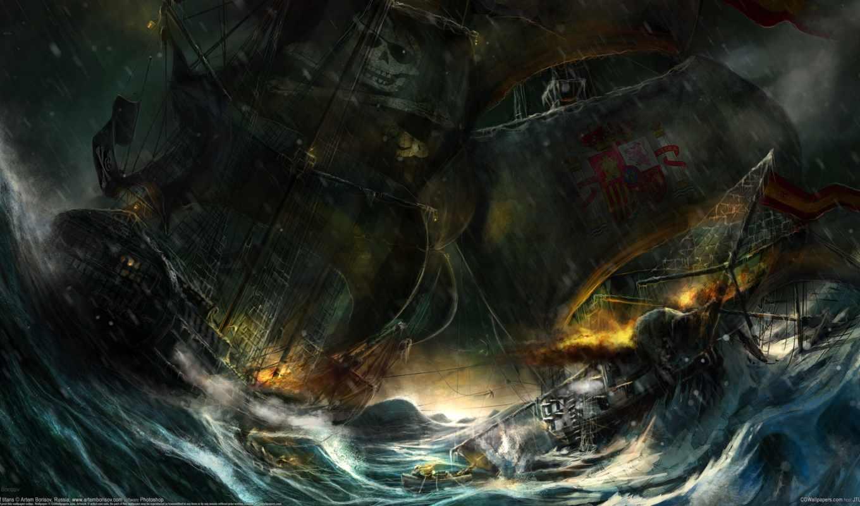 корабли, парусные, рисованные,