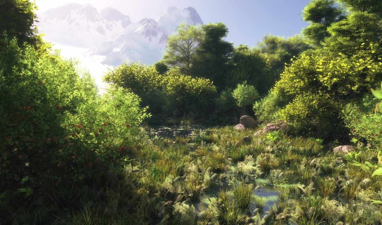 болото, water, лес, трава, зелёный, графика, art,