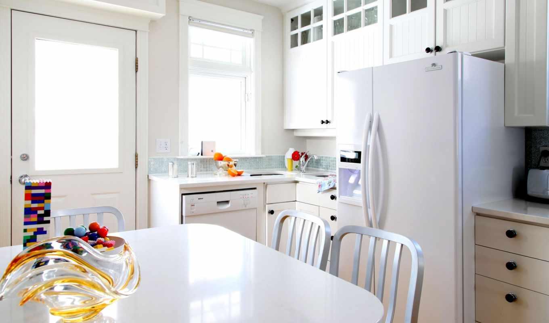 кухня, мебель, интерьер, холодильник, комната, белый,