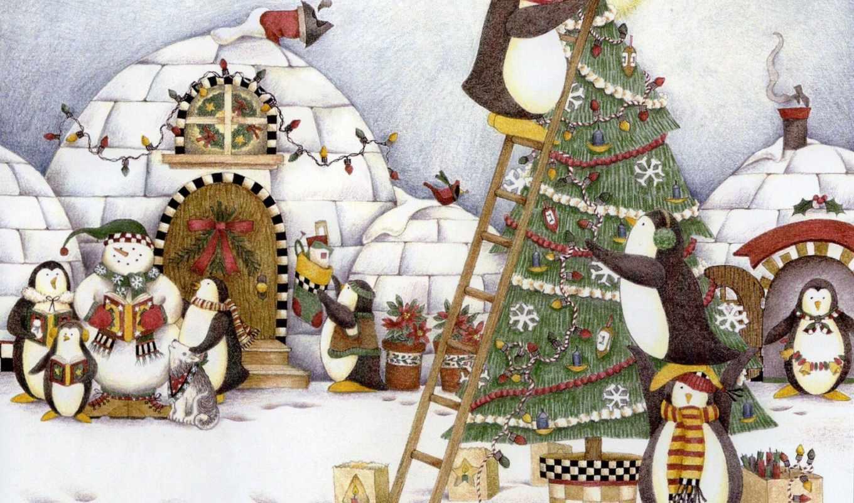 новый, год, пингвины, елка, иглу, коллекция, открыток,