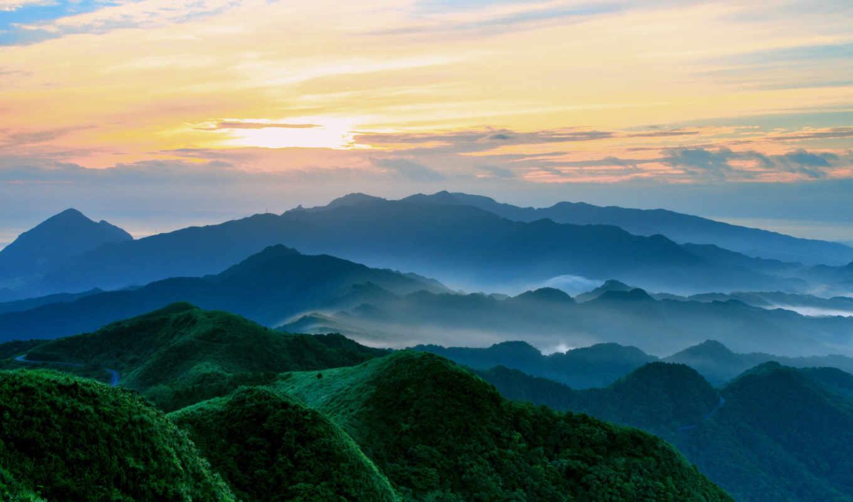 montañas, verdes, природа, небо, красивые,