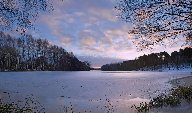 winter, дек, природа, озеро, деревя, снег,