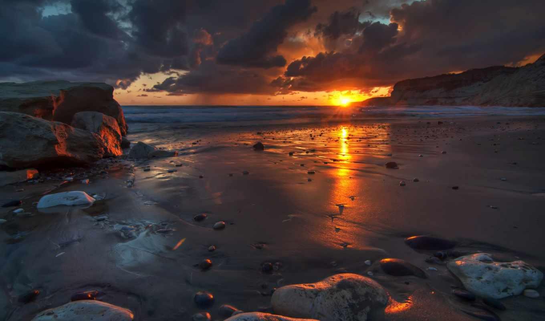 landscape, sun, рассвет, rising, природа, oblaka, небо, море,