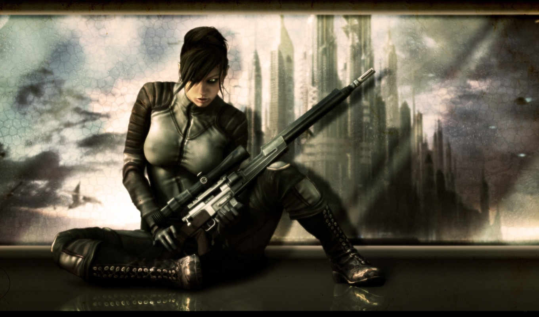 девушки, фэнтези, tags, винтовка, снайпер,
