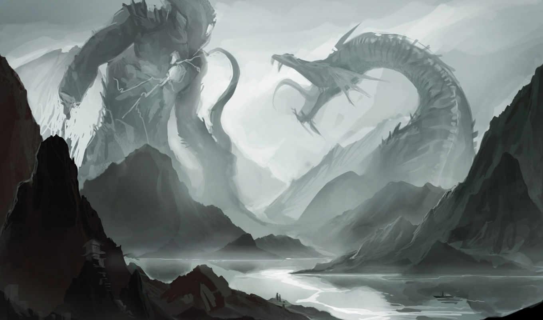 пасть, река, битва, лодка, схватка, горы, клыки, монстр, картинка, картинку,
