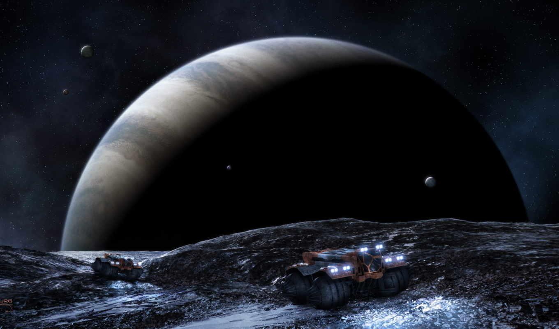 звезды, спутники, планета, гигант, машины, газовый, space, robots, картинка, часть,