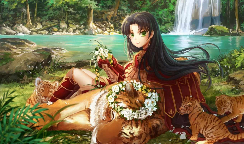 anime, воители, игры, красивые, art, тигр, только, фэнтези, природа,