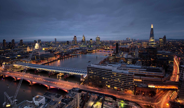 англия, london, взгляд, building, здания, река,