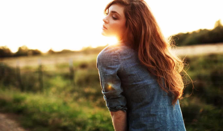 девушка, sun, рыжая, боке, солнца, fone, поля, поле, солнцем, devushki,