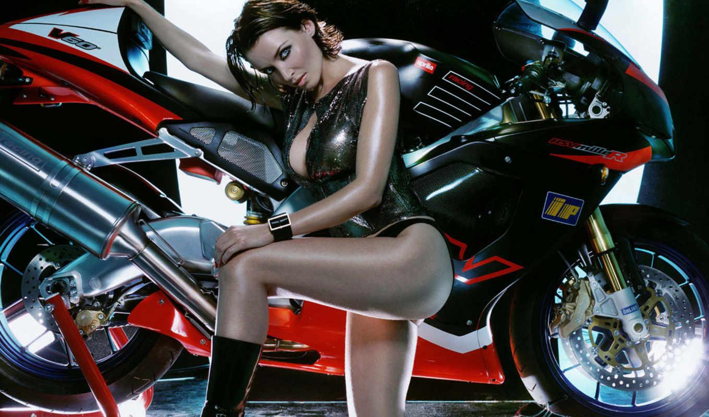 сексуальная, девушка, одежде, мотоцикл, оранжевый, chopper, латексе, эластичных,