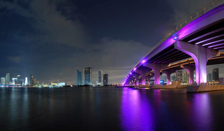 город, ночь, мост, огни,