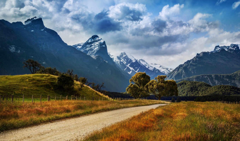 горы, дорога, новая, зеландия, природа, new, деревья, трава, облака, parede, пейзаж, papéis, net, best, grama, estradas, montanhas, nova, árvores, nuvens, zelândia, paisagem, paradise, картинку, paved