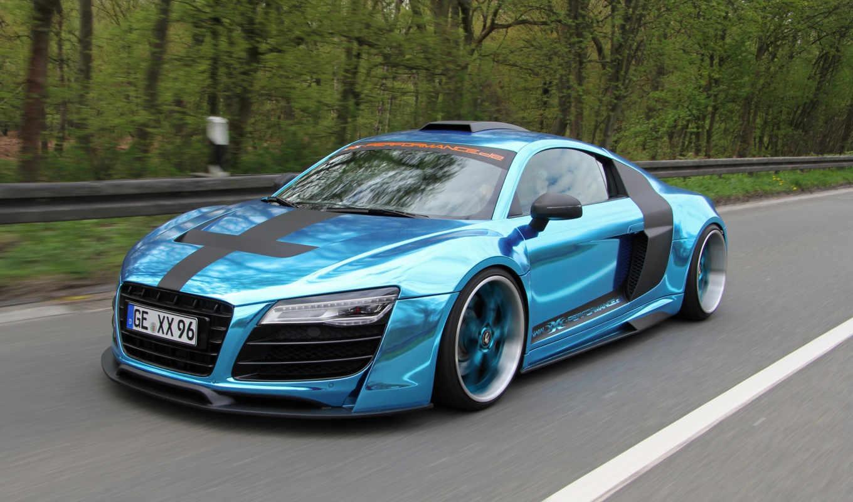 ,audi, r8, голубой, спорткар, supercar,