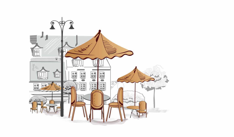 кафе, столики, зонтики, уличное, стулья, деревья, дома, vector,