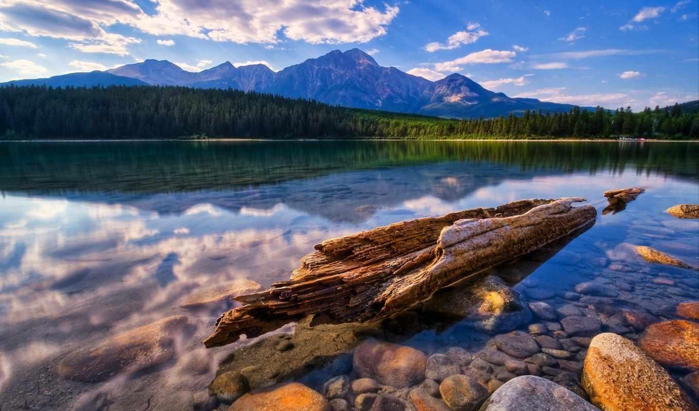 бревно, горы, озеро, nature, пейзажи, háttérkép, témában, letölhető, нравится, kavics, pic, картинку,