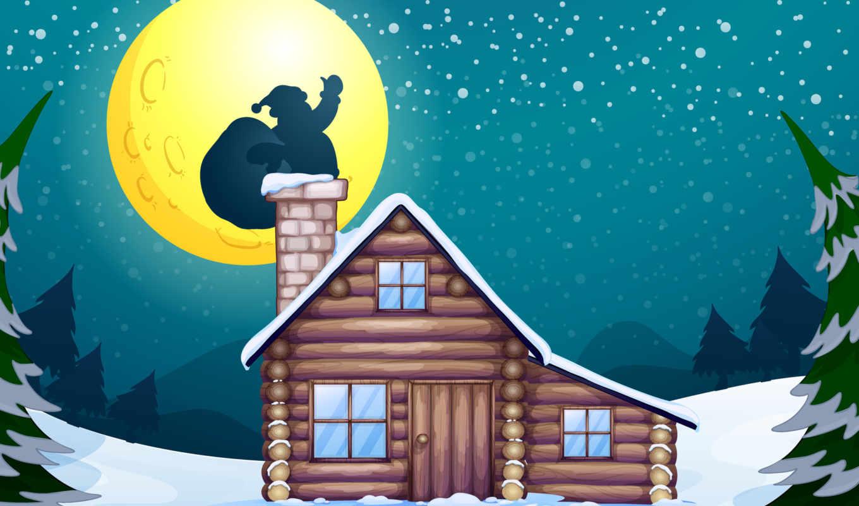 christmas, new, санта, год, chimney, claus, дерево, снег, луна, дек,